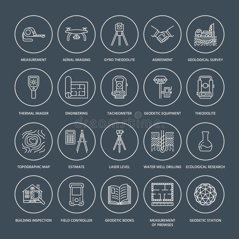 För teknikvektor för geodetisk granskning linje symboler för lägenhet Geodesiutrustning, tacheometer, teodolit, tripod geologiskt royaltyfri illustrationer