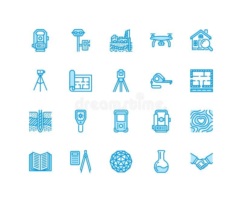 För teknikvektor för geodetisk granskning linje symboler för lägenhet Geodesiutrustning, tacheometer, teodolit, tripod geologiskt stock illustrationer