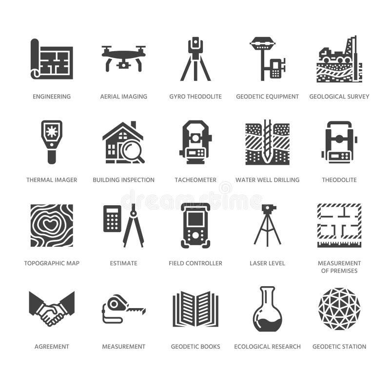 För teknikvektor för geodetisk granskning symboler för skåra för lägenhet Geodesiutrustning, tacheometer, teodolit Geologisk fors stock illustrationer