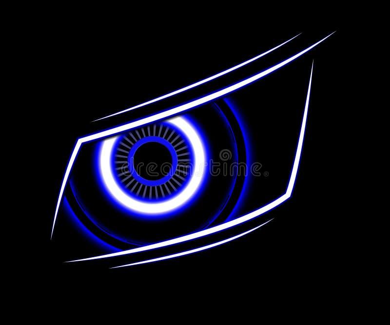 För teknologiabstrakt begrepp för blått öga bakgrund stock illustrationer