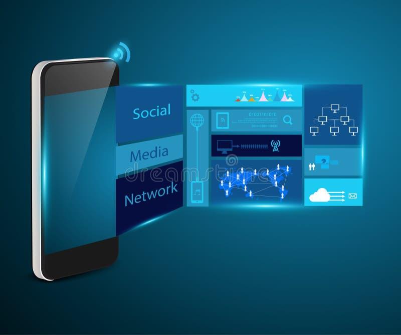 För teknologiaffärsidé för vektor modern mobil p