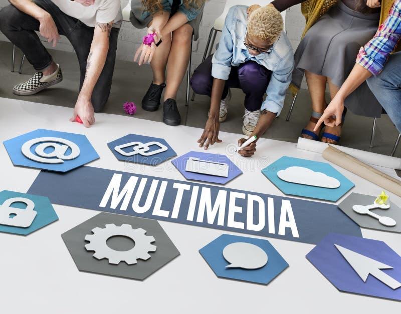 För teknologidiagram för multimedia modernt begrepp royaltyfri bild