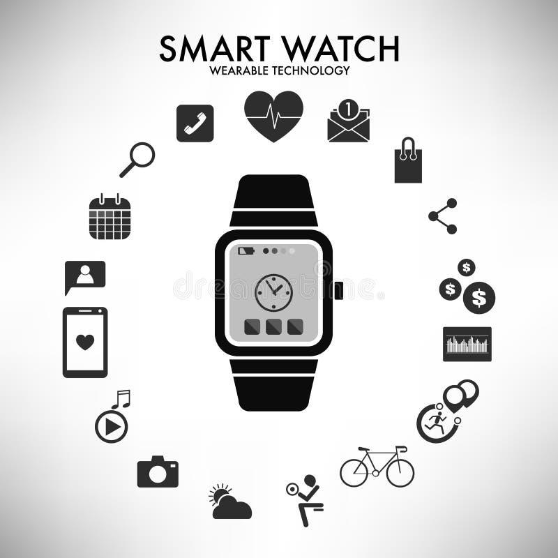 För teknologiinfographics för smart klocka wearable illustration för vektor vektor illustrationer