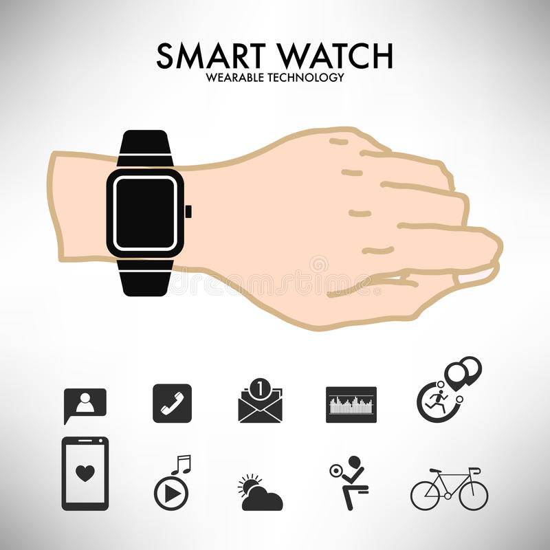 För teknologiinfographics för smart klocka wearable illustration för vektor stock illustrationer