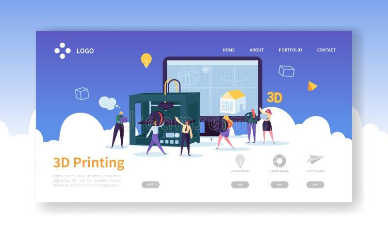 för teknologilandning för printing 3D sida 3D skrivare Equipment med den plana mallen för folkteckenWebsite teknik royaltyfri illustrationer