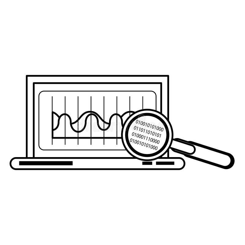 För teknologimaskinvara för bärbar dator mobil tecknad film i svartvitt royaltyfri illustrationer