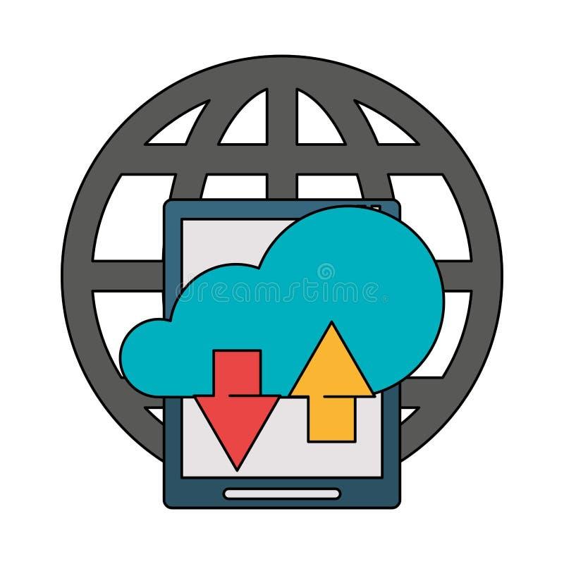För teknologimaskinvara för minnestavla mobil tecknad film stock illustrationer