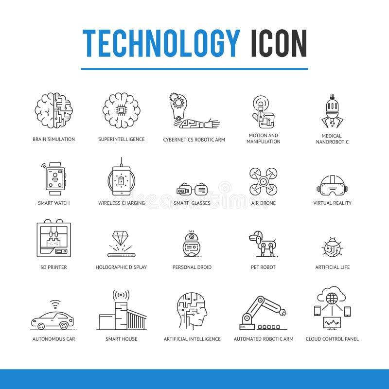 För teknologisymbol för konstgjord intelligens packe royaltyfri illustrationer