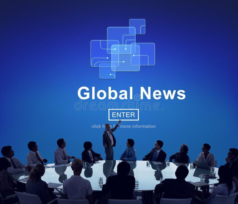 För teknologiuppdatering för global nyheterna online-begrepp arkivbilder