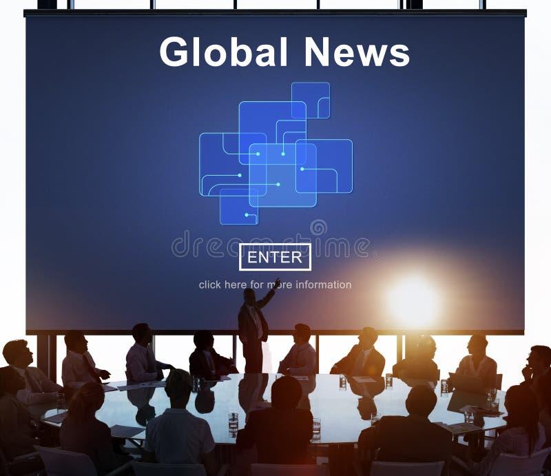 För teknologiuppdatering för global nyheterna online-begrepp royaltyfria bilder