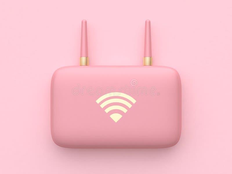 för teknologiutrustning för tolkning 3d rosa minsta abstrakt router för wifi vektor illustrationer