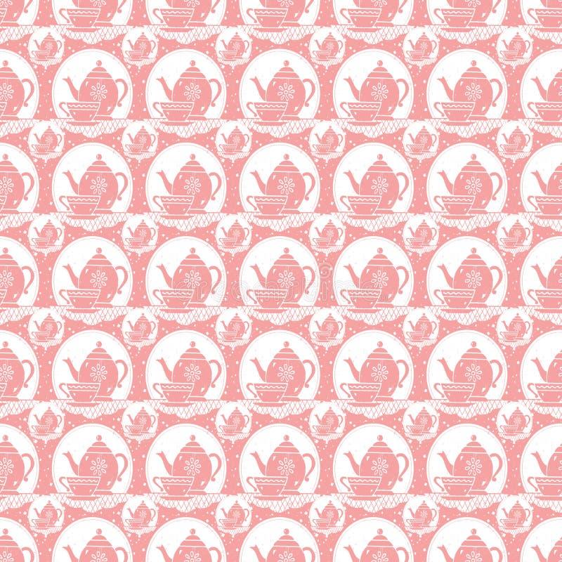 För tekruka för rosa tappning retro modell för repetition för kopp och tei svartvitt royaltyfri illustrationer