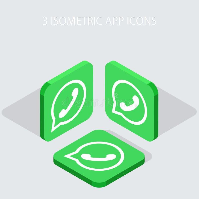 För telefonapp för vektor moderna 3 isometriska symboler royaltyfri illustrationer