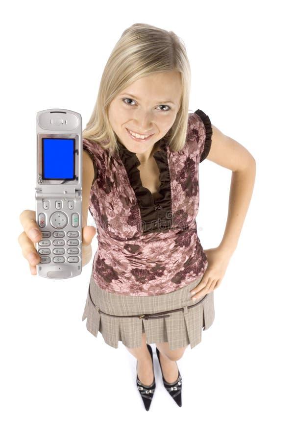 för telefonkvinna för blond headshot mobilt barn arkivfoto