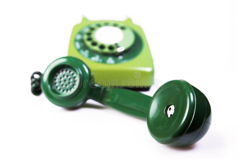 För telefonmottagare för tappning grön skalm royaltyfri fotografi