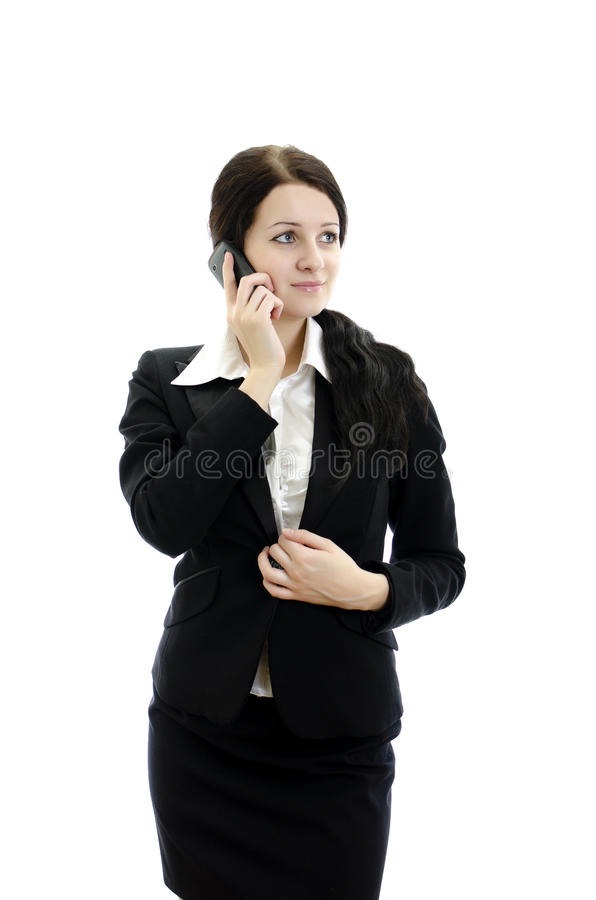 för telefonstående för affär mobil kvinna arkivbilder