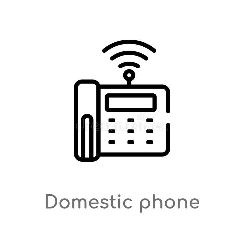 för telefonvektor för översikt inhemsk symbol isolerad svart enkel linje beståndsdelillustration från att knyta kontakt begrepp R royaltyfri illustrationer