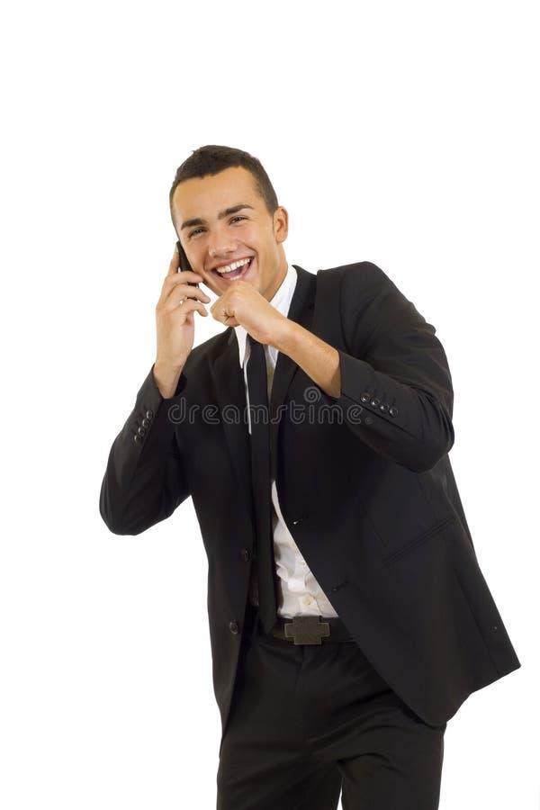 för telefonwhith för man mobilt barn royaltyfri bild