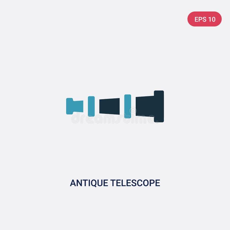 För teleskopvektor för två färg antik symbol från folkexpertisbegrepp det isolerade blåa antika symbolet för teleskopvektorteckne vektor illustrationer