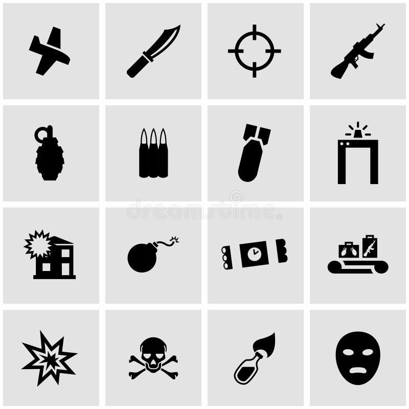 För terrorismsymbol för vektor svart uppsättning stock illustrationer