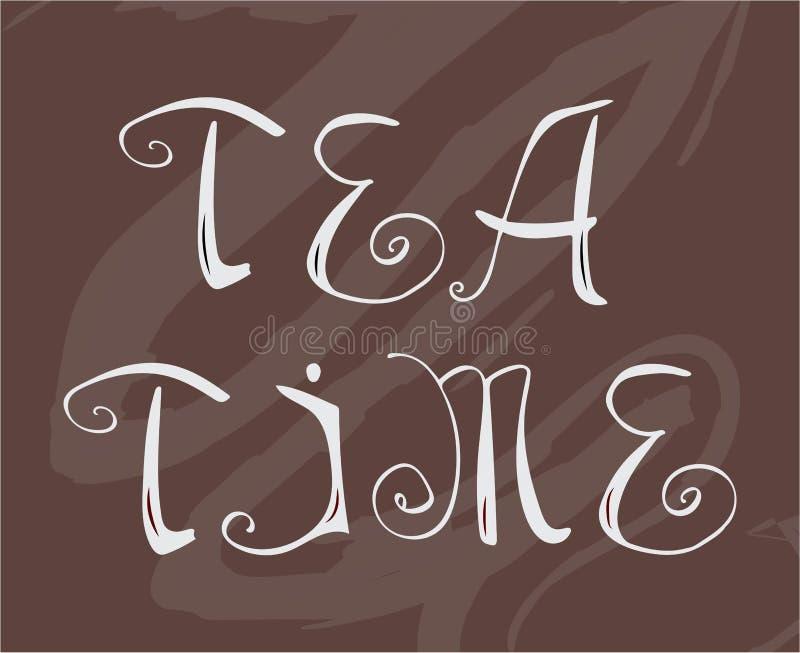 För tetid för hand utdragen bokstäver för vektor royaltyfri illustrationer