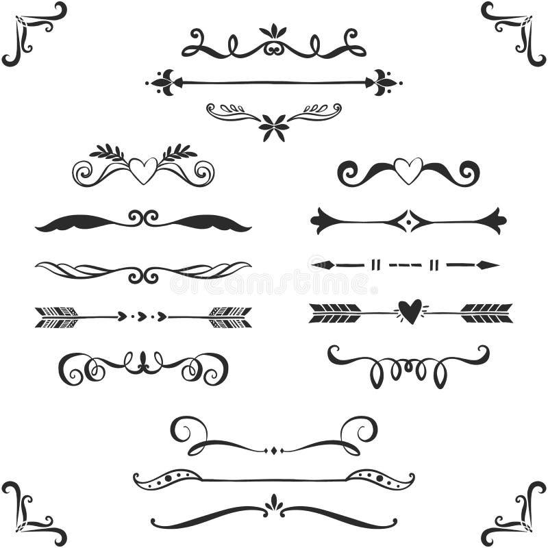 För textavdelare för tappning dekorativ samling tecknad handvektor royaltyfri illustrationer