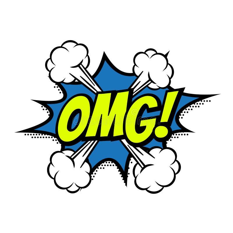 För textbubblan för OMG isolerade den komiska vektorn färgsymbolen royaltyfri illustrationer