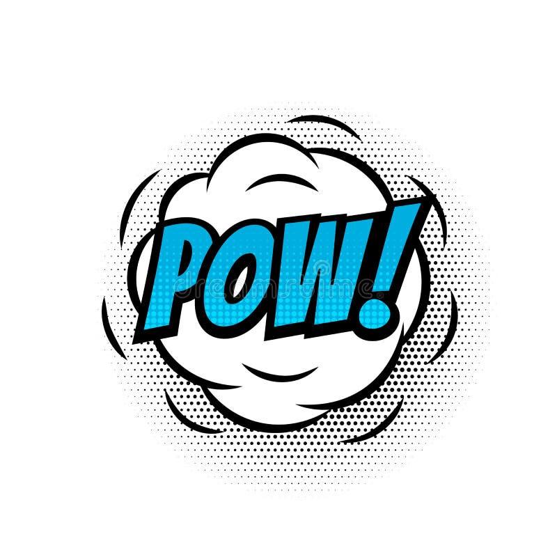 För textbubblan för powen isolerade den komiska vektorn färgsymbolen royaltyfri illustrationer