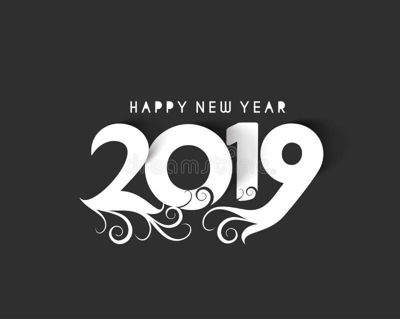 För textdesign för lyckligt nytt år 2019 smattrande royaltyfri illustrationer