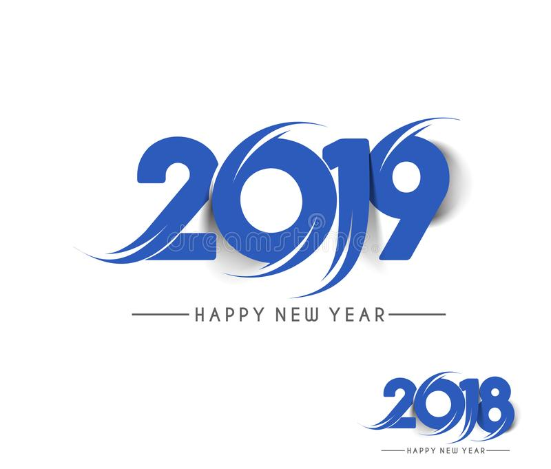 För textdesign för lyckligt nytt år 2019 smattrande stock illustrationer