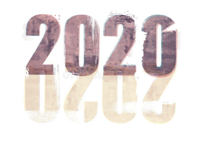 För textdesign för lyckligt nytt år 2020 smattrande, tryckstil royaltyfri illustrationer