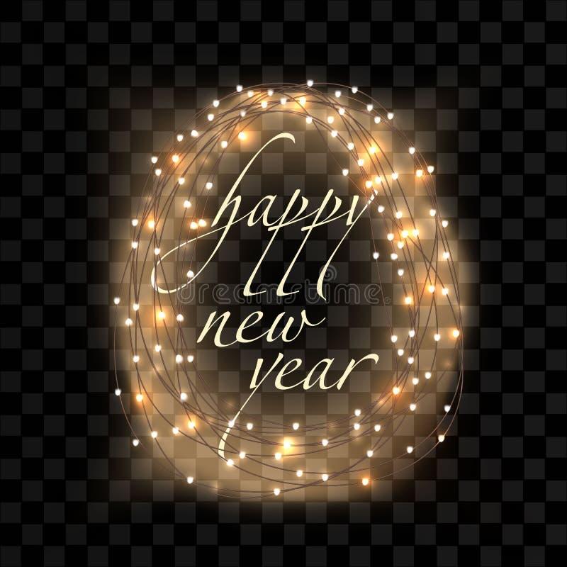 För textljus för lyckligt nytt år girlander stock illustrationer