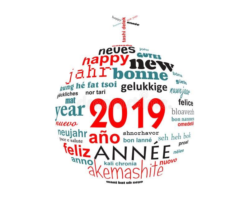 för textord för nytt år 2019 flerspråkigt kort för hälsning för moln i formen av en julboll royaltyfri illustrationer