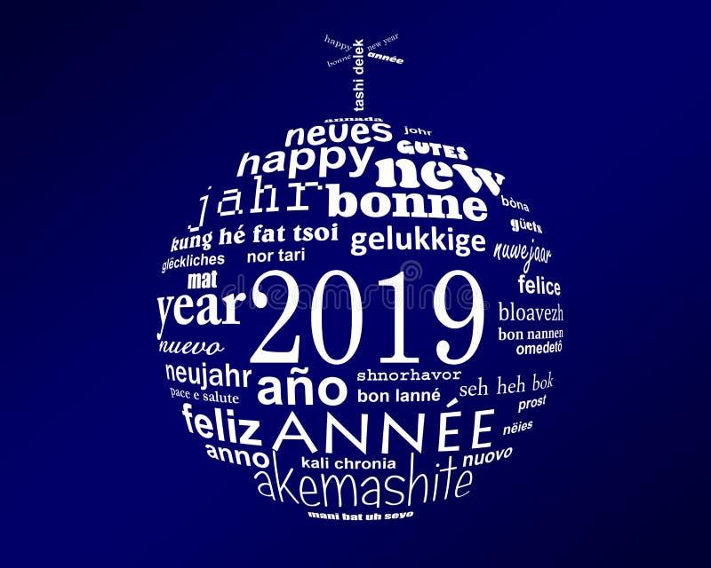 för textordet för nytt år 2019 klumpa ihop sig det flerspråkiga molnet i formen av jul stock illustrationer