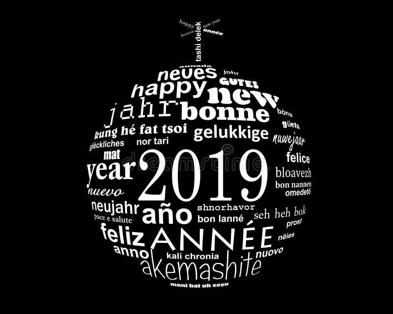 för textordet för nytt år 2019 klumpa ihop sig det flerspråkiga molnet i formen av jul royaltyfri illustrationer