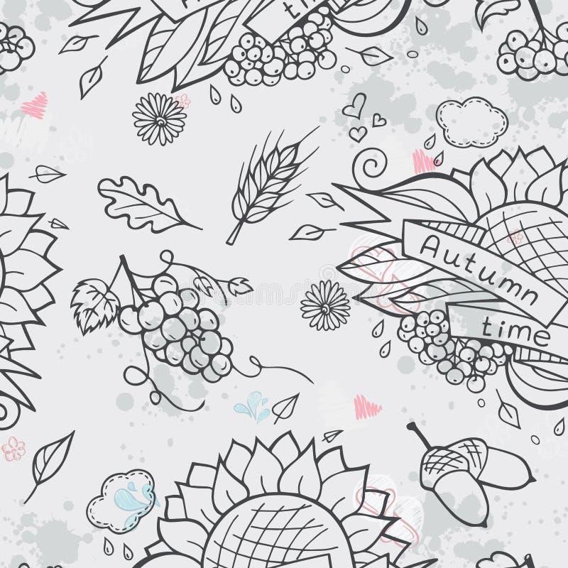 För texturhöst för kontur sömlöst tema stock illustrationer
