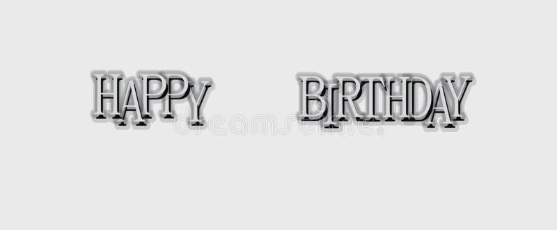 För textvektor för lycklig födelsedag affisch för kort för design stock illustrationer
