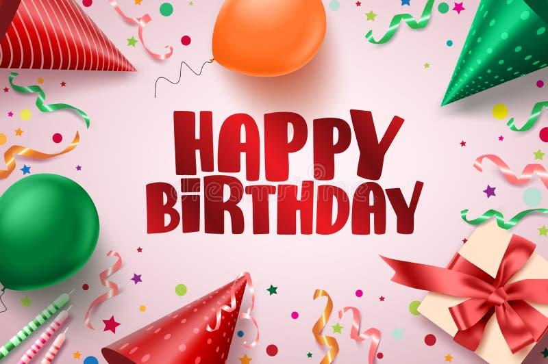 För textvektor för lycklig födelsedag design för baner Födelsedaghälsningskort i rosa bakgrund med färgrika beståndsdelar som bal stock illustrationer