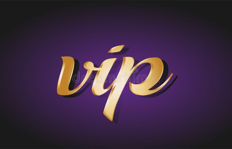 för textvykort för vip guld- guld- logo för baner royaltyfri illustrationer