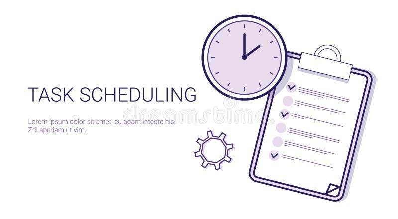 För Tid för begrepp för planläggning för uppgiftsScheduling effektivt baner för rengöringsduk för mall ledning med kopieringsutry royaltyfri illustrationer