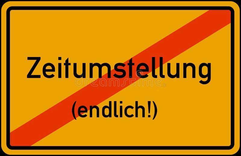 För Tid för europeisk union för Zeitumstellung Winterzeit Sommerzeit abgeschafft disestablished besparing för dagsljus omvandling stock illustrationer