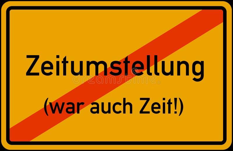 För Tid för europeisk union för Zeitumstellung Winterzeit Sommerzeit abgeschafft disestablished besparing för dagsljus omvandling royaltyfri illustrationer