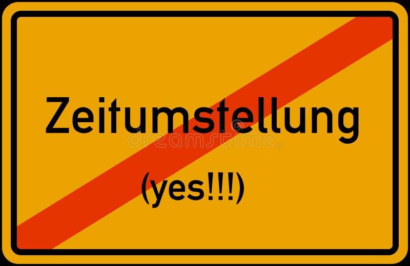 För Tid för europeisk union för Zeitumstellung Winterzeit Sommerzeit abgeschafft disestablished besparing för dagsljus omvandling vektor illustrationer