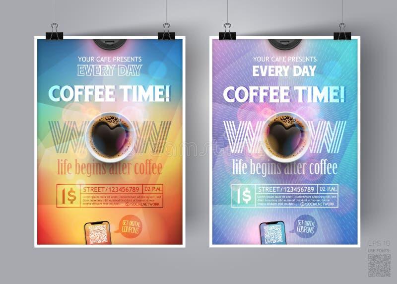 För Tid för kaffeavbrott mall reklamblad Advertizingen är ett modernt begrepp för broschyren, baner, inbjudan, broschyren, affisc royaltyfri illustrationer