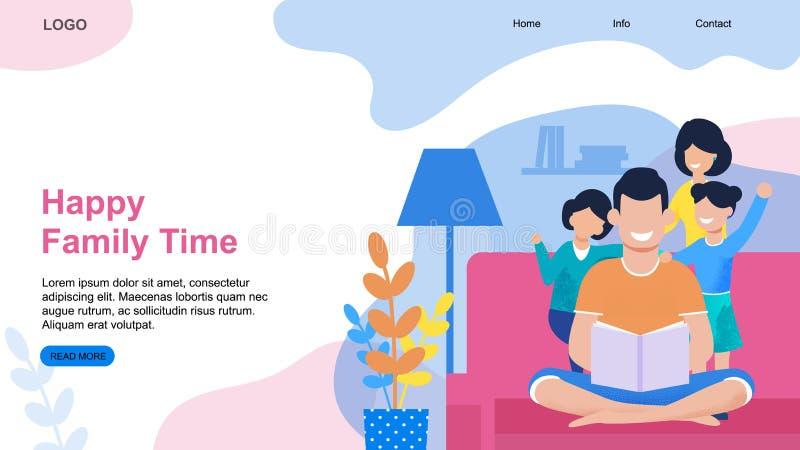 För Tid för lycklig familj mall hemmastadd landa sida vektor illustrationer