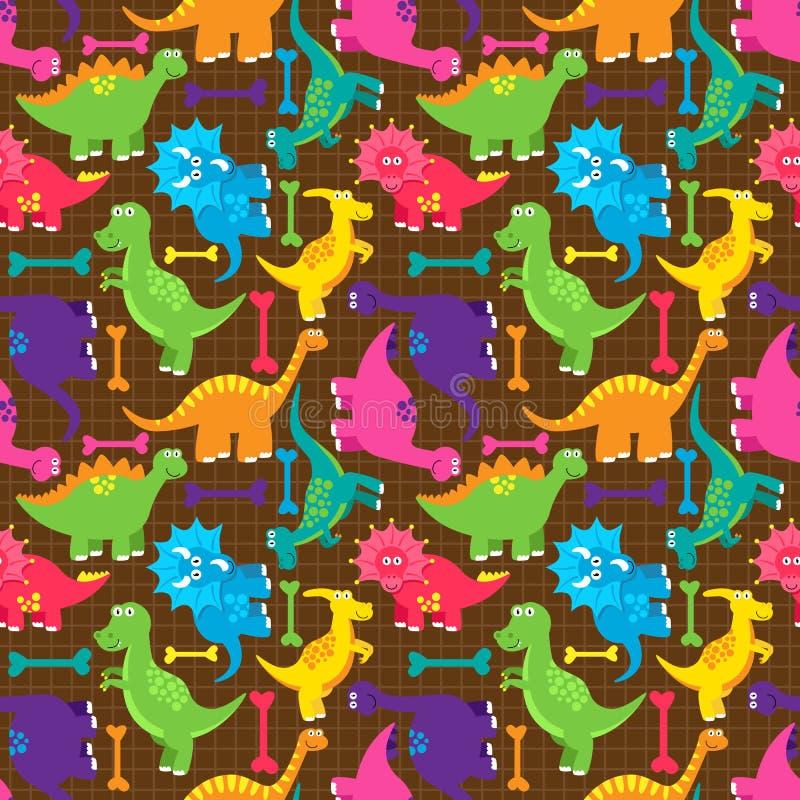 För Tileable för dinosaurie sömlös modell för bakgrund vektor vektor illustrationer