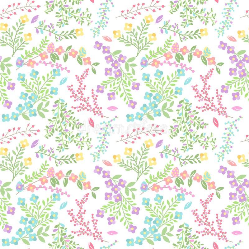 För Tileable för vektor sömlös modell för bakgrund påsk med blommor vektor illustrationer