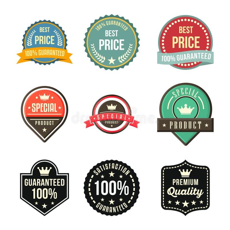 För tillfredsställelseskyddsremsa för bästa pris garanterat specialt emblem för klistermärke royaltyfri illustrationer