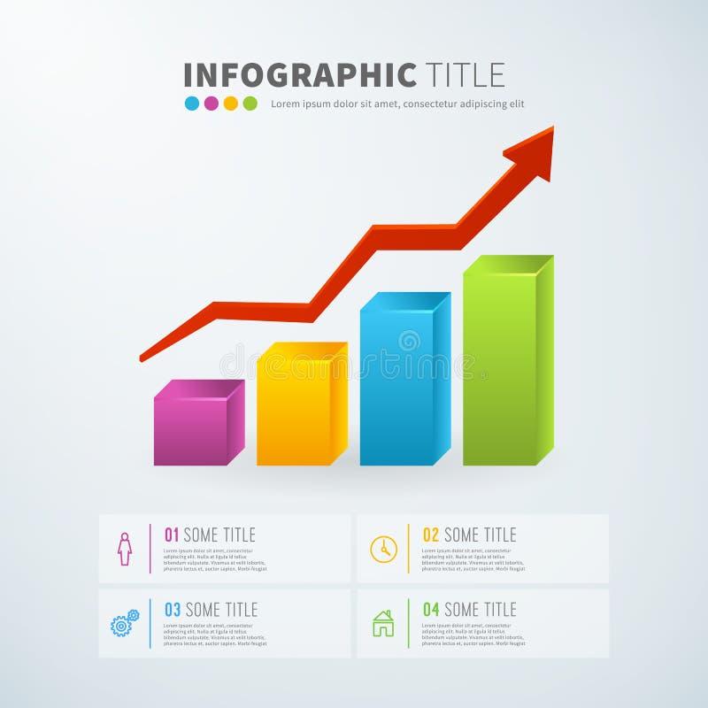För tillväxtstång för affär infographic statistik för diagram med symboler royaltyfri illustrationer