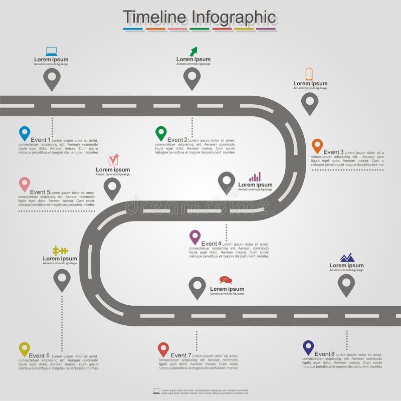 För timelinebeståndsdel för väg infographic orientering vektor vektor illustrationer